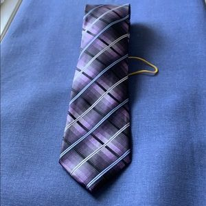 Men's tie black with lavender, blue, white